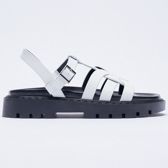 NEW ZARA FLAT LEATHER CAGE SANDALS WITH TRACK SOLE